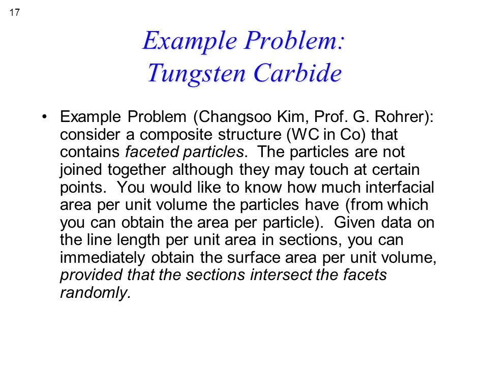 Example Problem: Tungsten Carbide