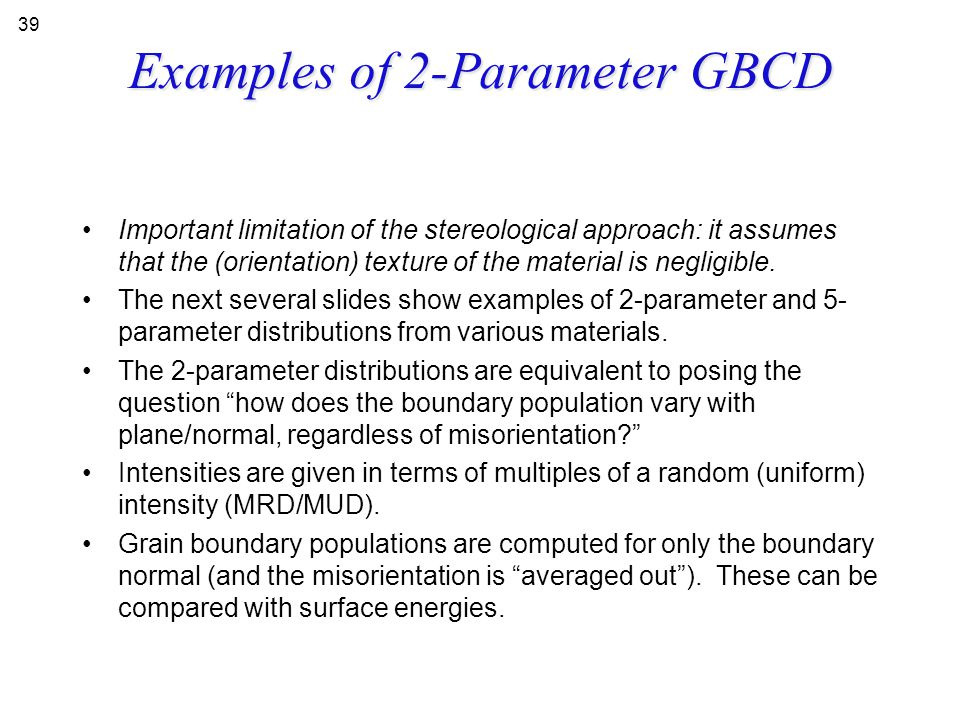 Examples of 2-Parameter GBCD