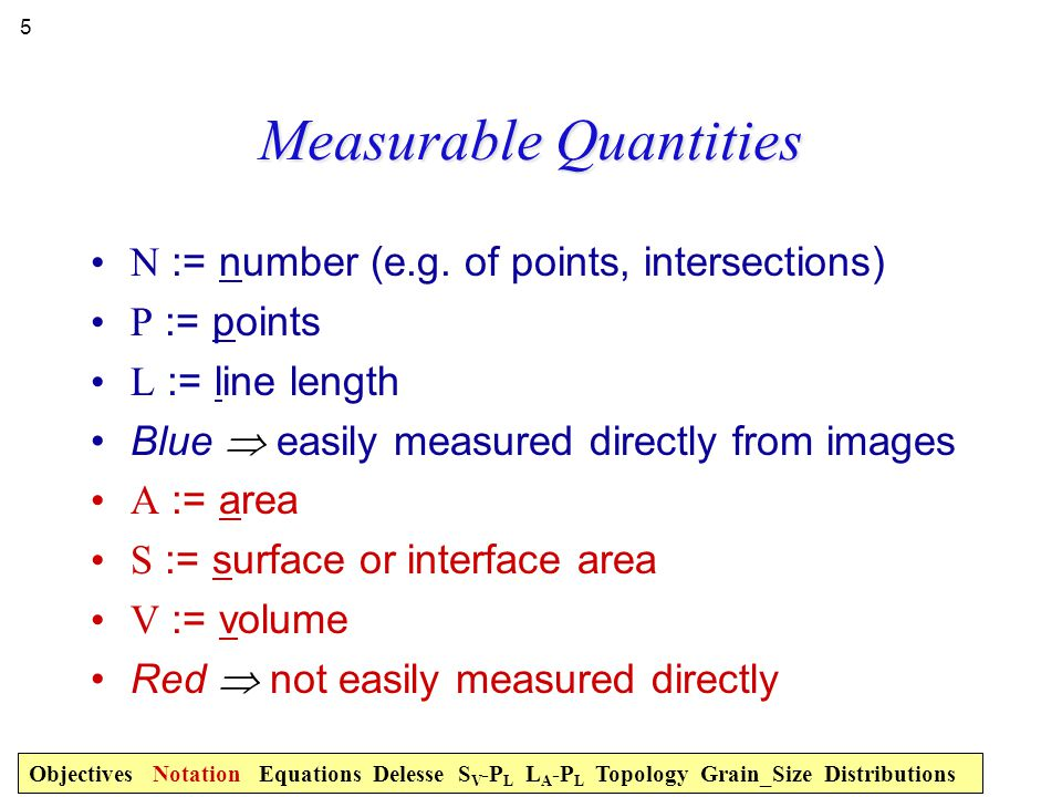 Measurable Quantities