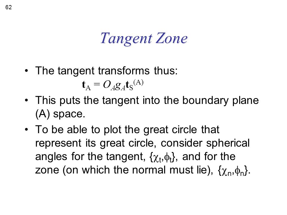 Tangent Zone The tangent transforms thus: tA = OAgAtS(A)