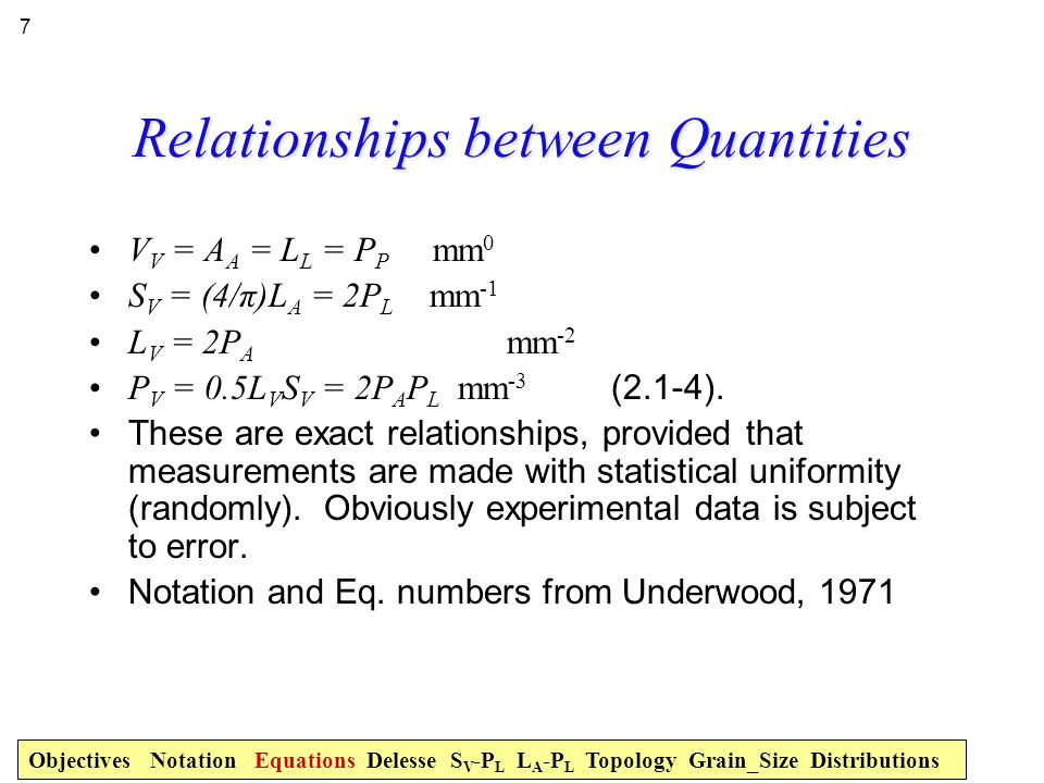 Relationships between Quantities