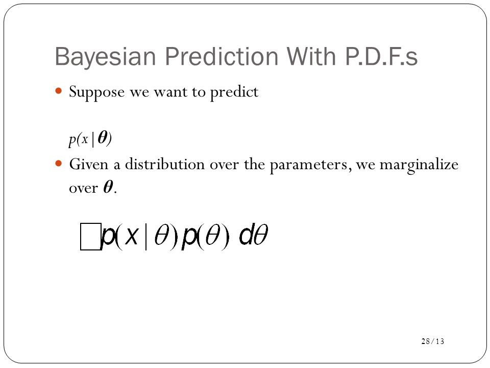 Bayesian Prediction With P.D.F.s