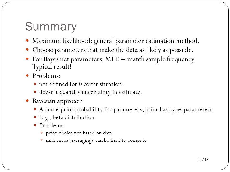 Summary Maximum likelihood: general parameter estimation method.