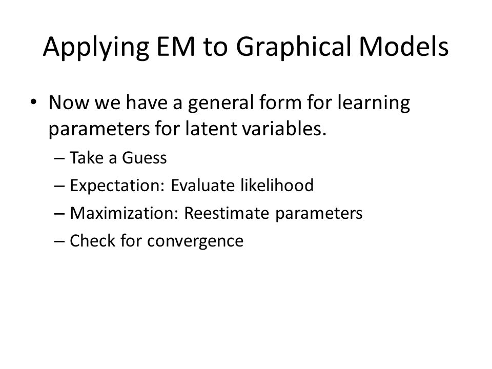 Applying EM to Graphical Models