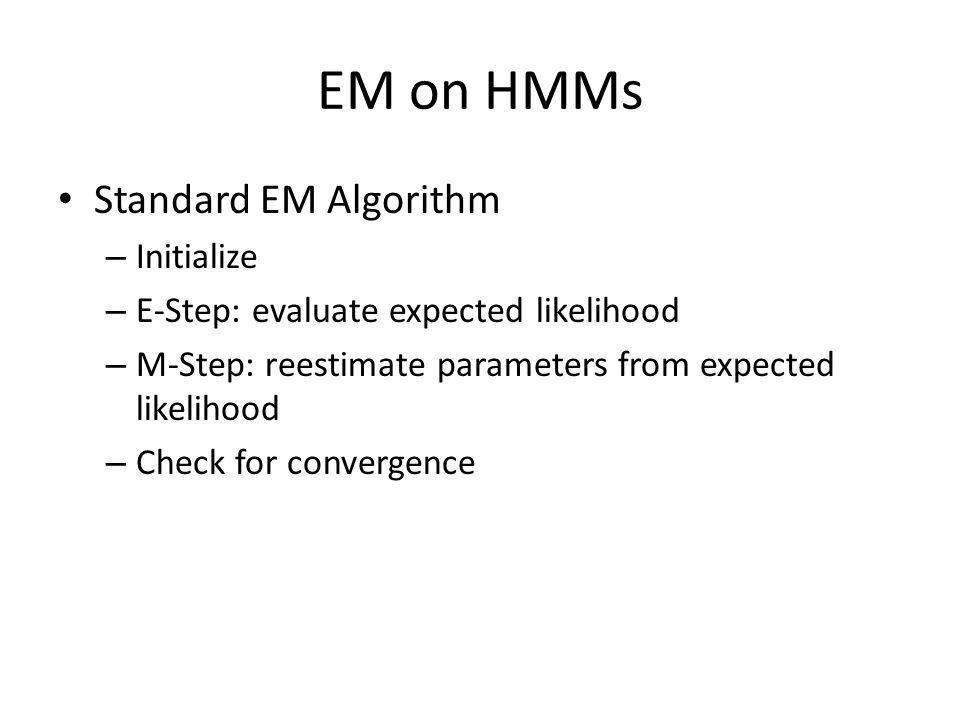 EM on HMMs Standard EM Algorithm Initialize