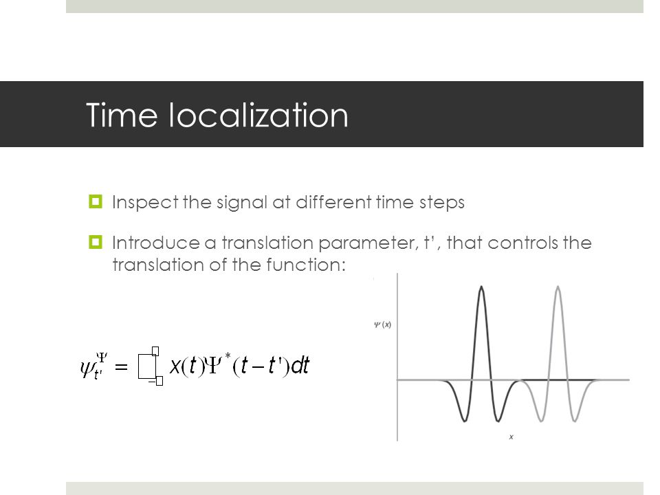 Time localization Inspect the signal at different time steps