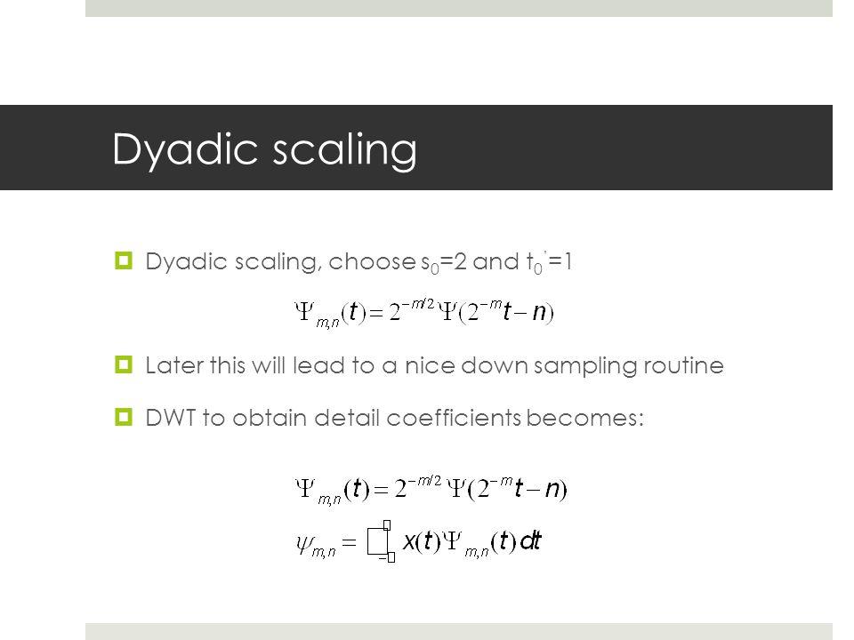 Dyadic scaling Dyadic scaling, choose s0=2 and t0'=1