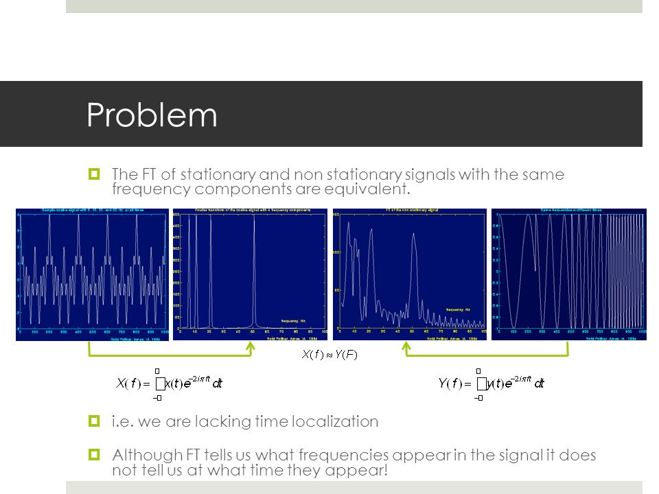 Problem The FT of stationary and non stationary signals with the same frequency components are equivalent.
