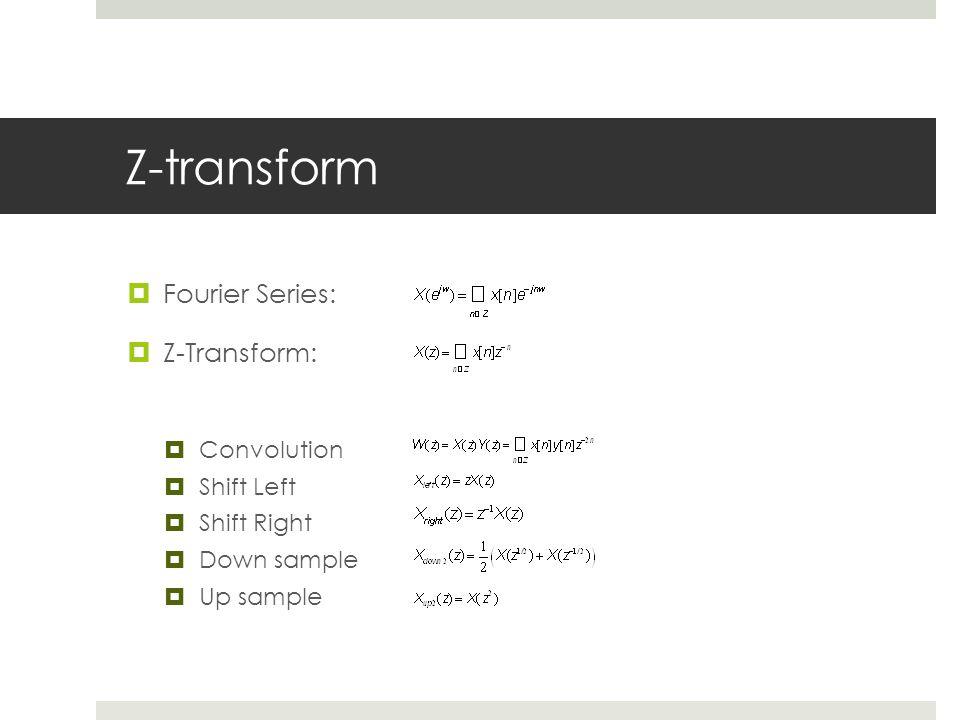 Z-transform Fourier Series: Z-Transform: Convolution Shift Left