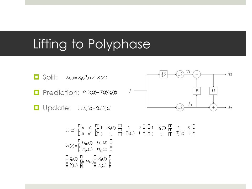 Lifting to Polyphase Split: Prediction: Update: