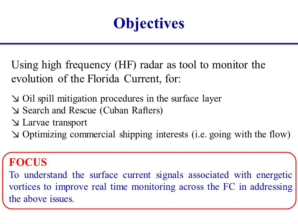 Objectives Using high frequency (HF) radar as tool to monitor the evolution of the Florida Current, for: