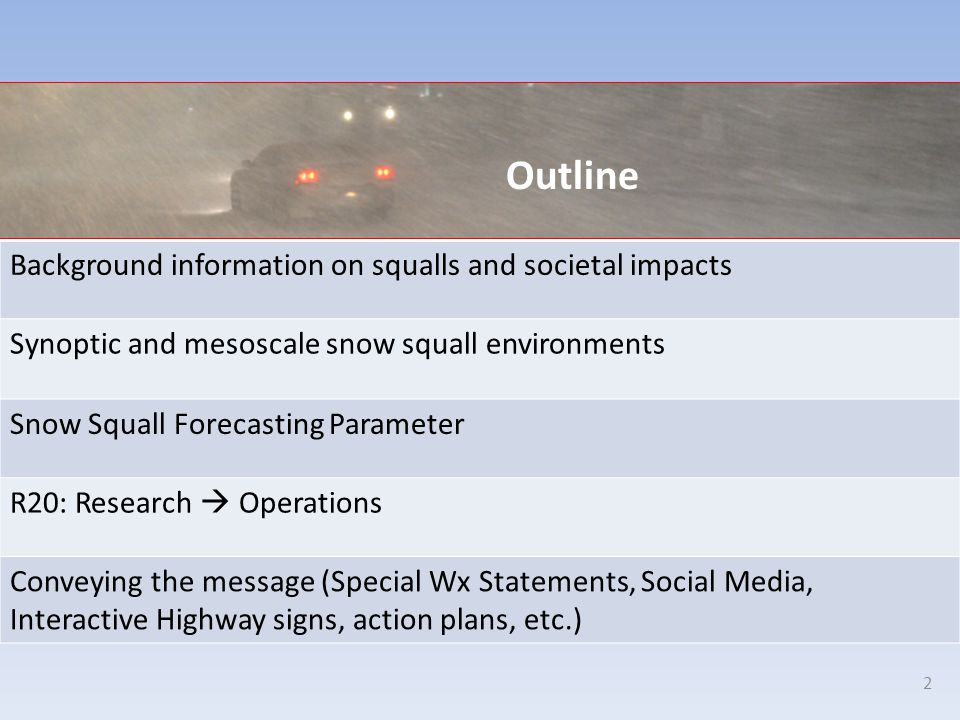 Outline Background information on squalls and societal impacts