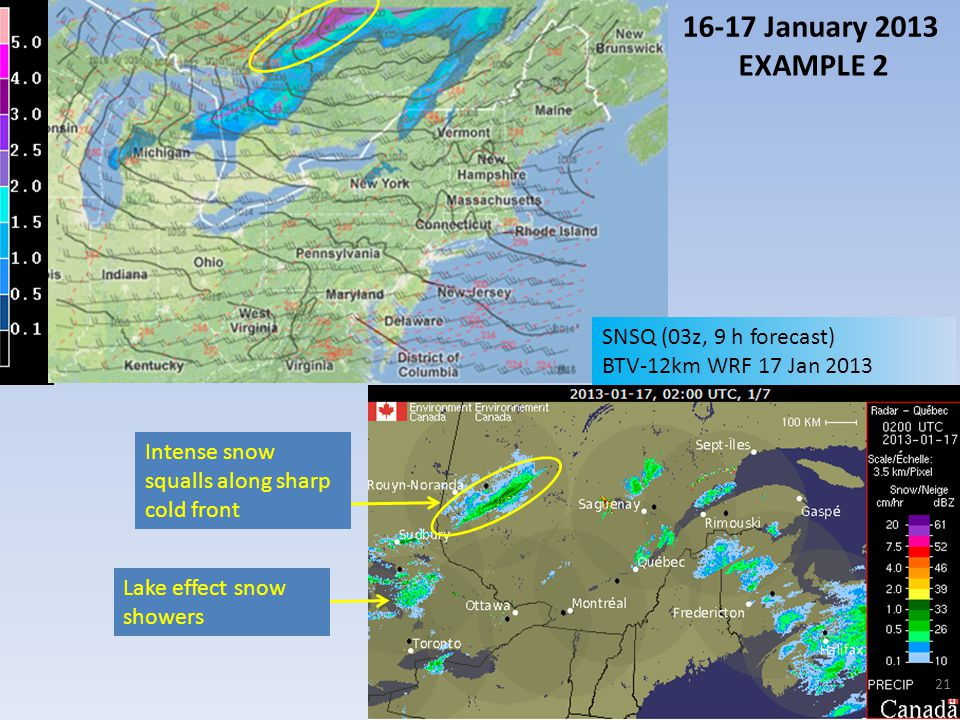 16-17 January 2013 EXAMPLE 2 SNSQ (03z, 9 h forecast)