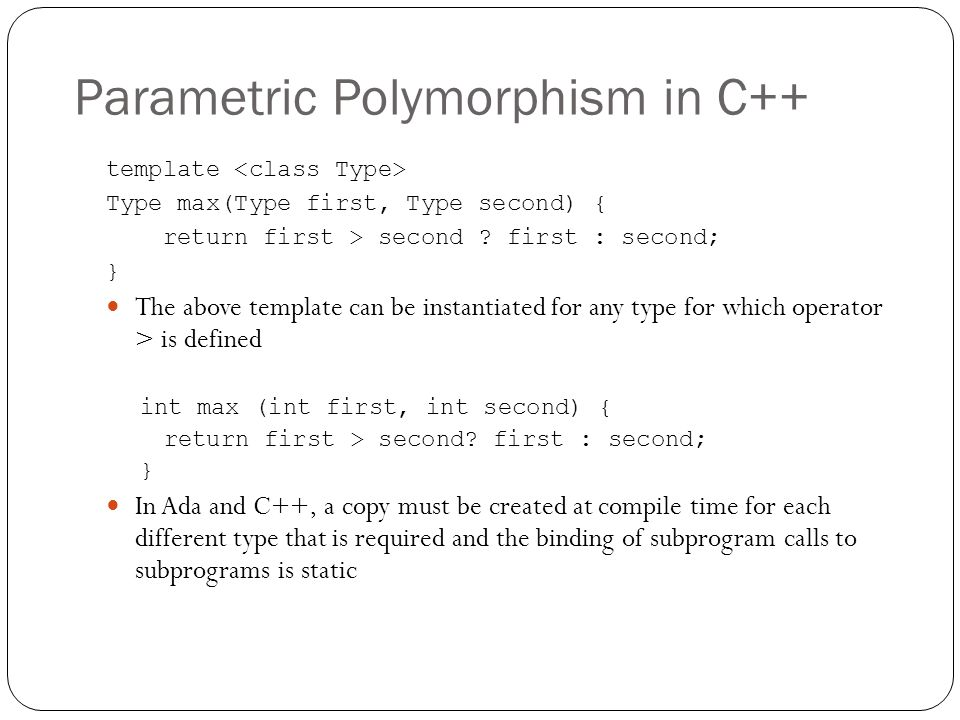 Parametric Polymorphism in C++