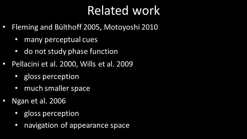 Related work Fleming and Bülthoff 2005, Motoyoshi 2010