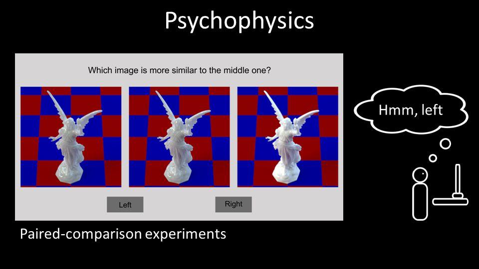 Psychophysics Hmm, left Paired-comparison experiments