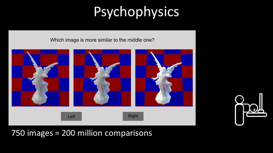 Psychophysics 750 images = 200 million comparisons