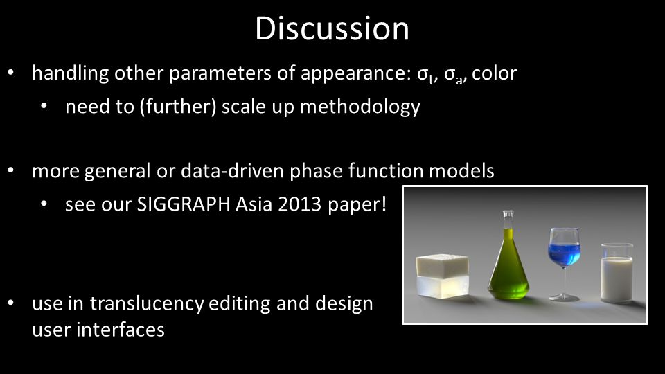 Discussion handling other parameters of appearance: σt, σa, color