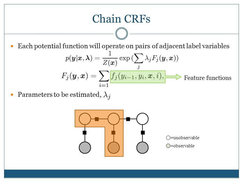 Chain CRFs Each potential function will operate on pairs of adjacent label variables. Parameters to be estimated,
