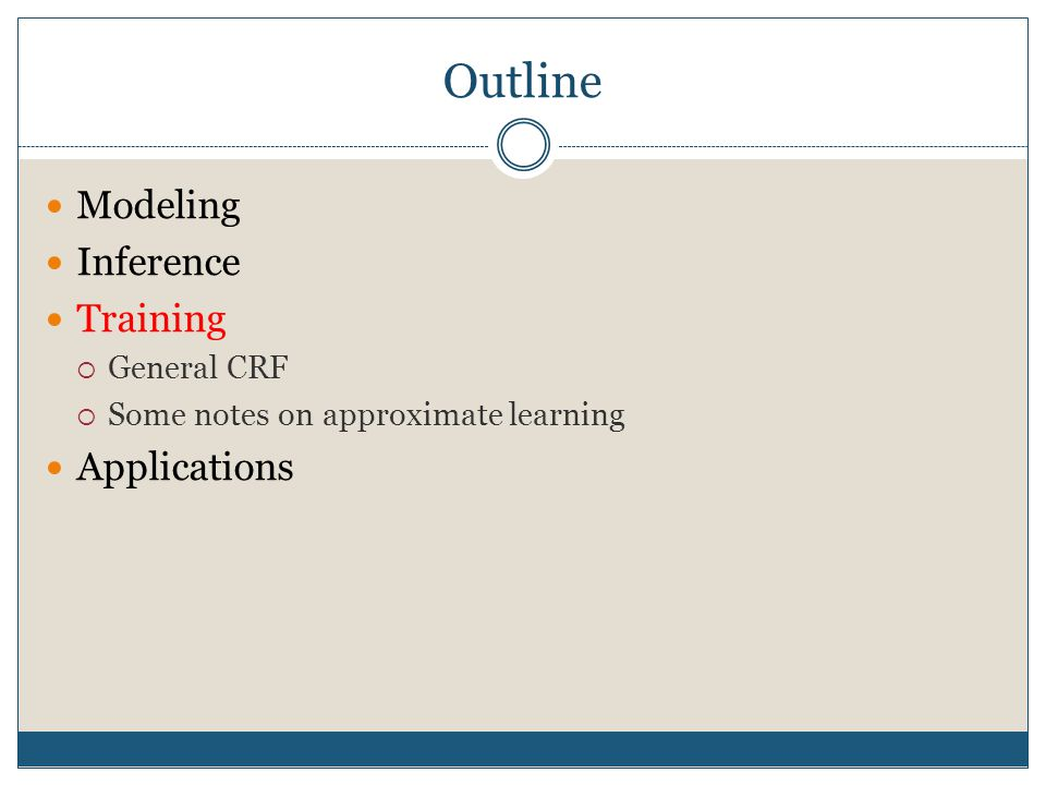 Outline Modeling Inference Training Applications General CRF