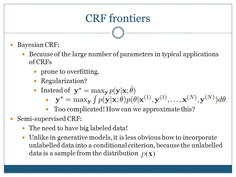 CRF frontiers Bayesian CRF: