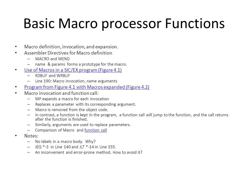 Basic Macro processor Functions