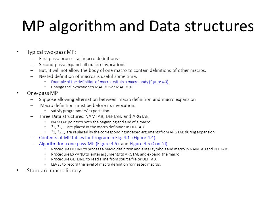 MP algorithm and Data structures