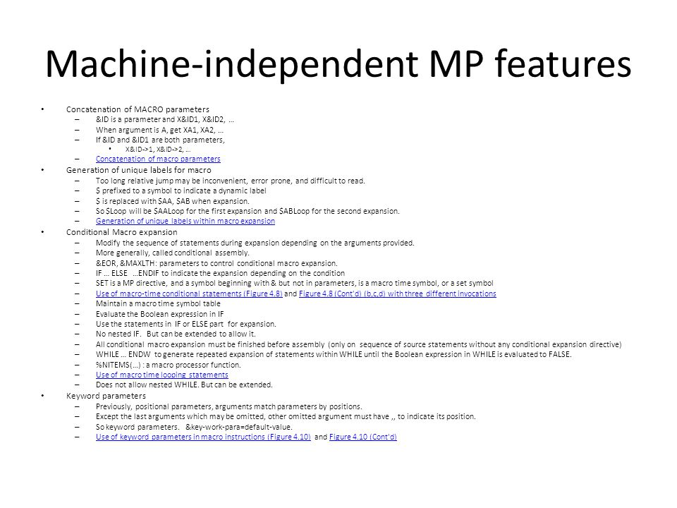 Machine-independent MP features
