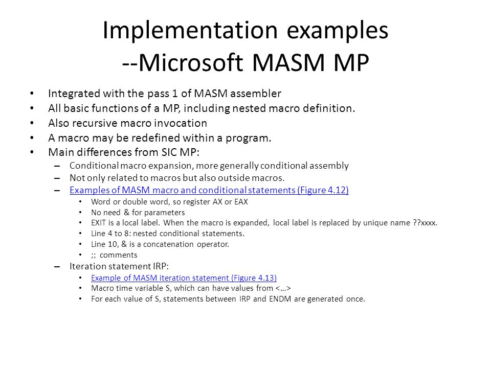 Implementation examples --Microsoft MASM MP