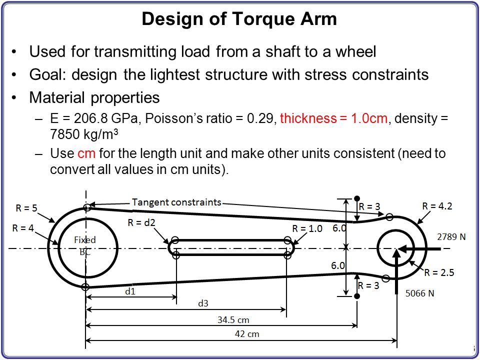 Design of Torque Arm Used for transmitting load from a shaft to a wheel. Goal: design the lightest structure with stress constraints.