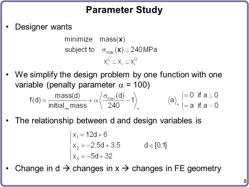Parameter Study Designer wants