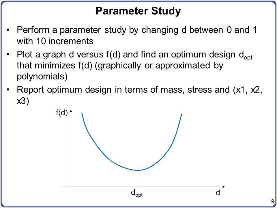 Parameter Study Perform a parameter study by changing d between 0 and 1 with 10 increments.