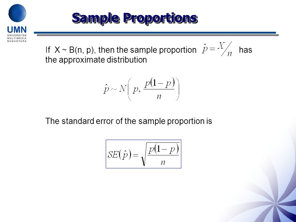 Sample Proportions If X ~ B(n, p), then the sample proportion has the approximate distribution.