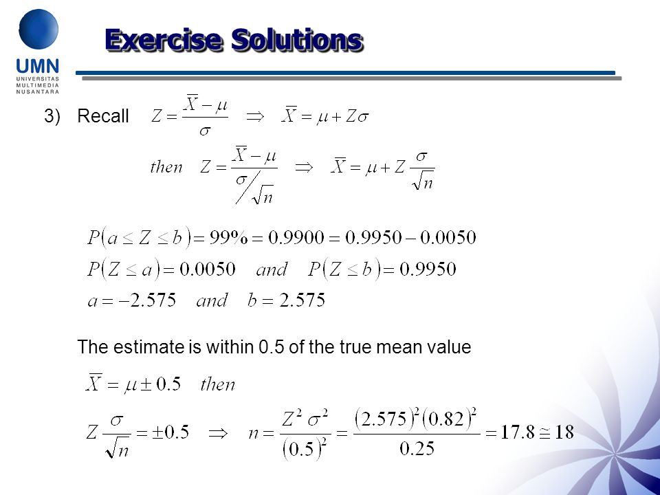 Exercise Solutions Recall