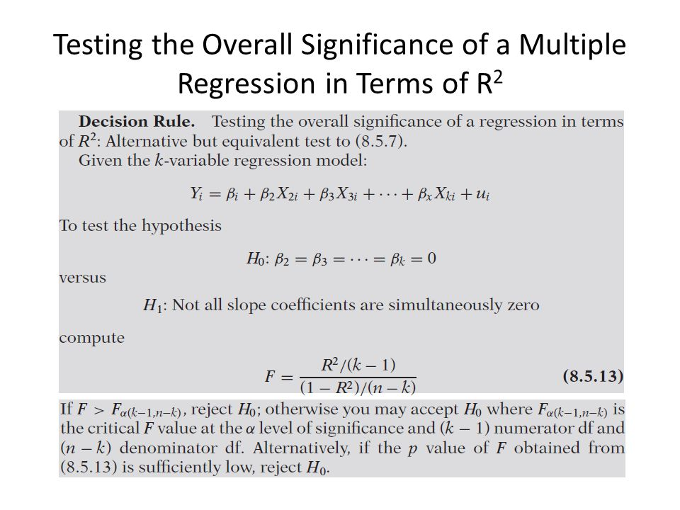 Testing the Overall Significance of a Multiple Regression in Terms of R2