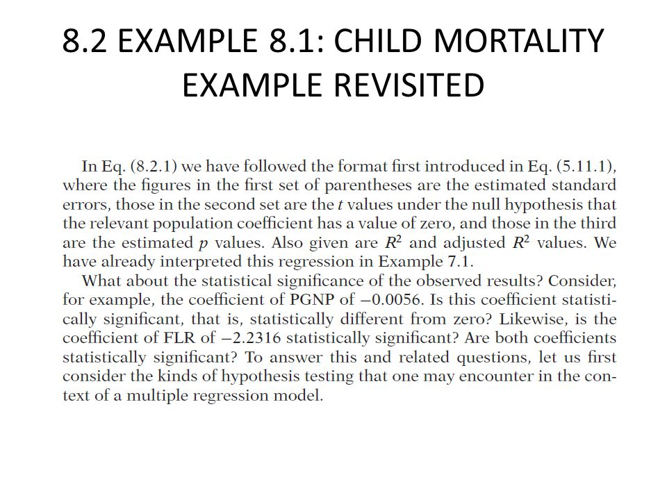 8.2 EXAMPLE 8.1: CHILD MORTALITY EXAMPLE REVISITED