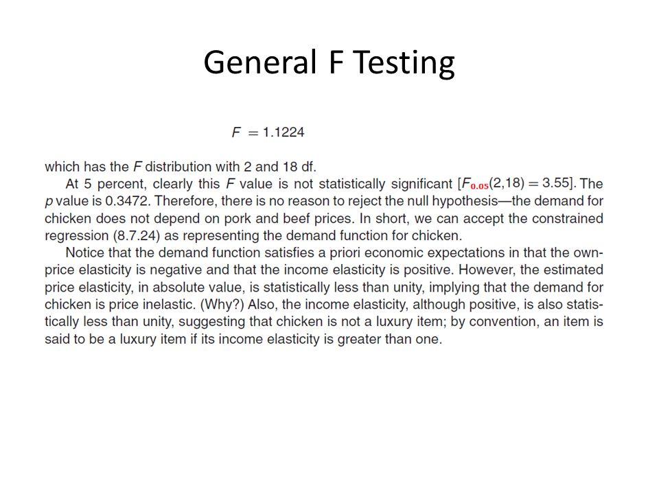 General F Testing