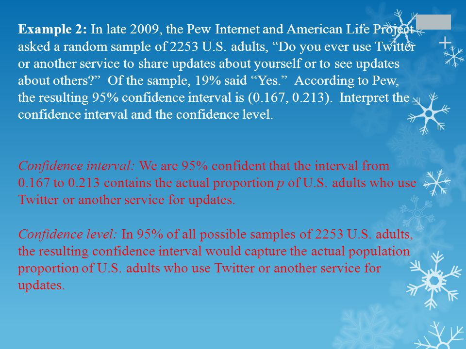 Example 2: In late 2009, the Pew Internet and American Life Project asked a random sample of 2253 U.S. adults, Do you ever use Twitter or another service to share updates about yourself or to see updates about others Of the sample, 19% said Yes. According to Pew, the resulting 95% confidence interval is (0.167, 0.213). Interpret the confidence interval and the confidence level.