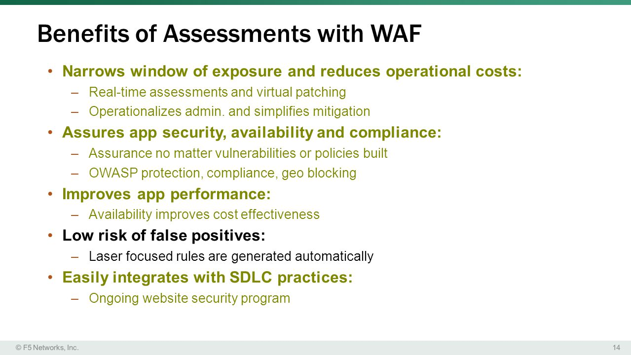 Benefits of Assessments with WAF