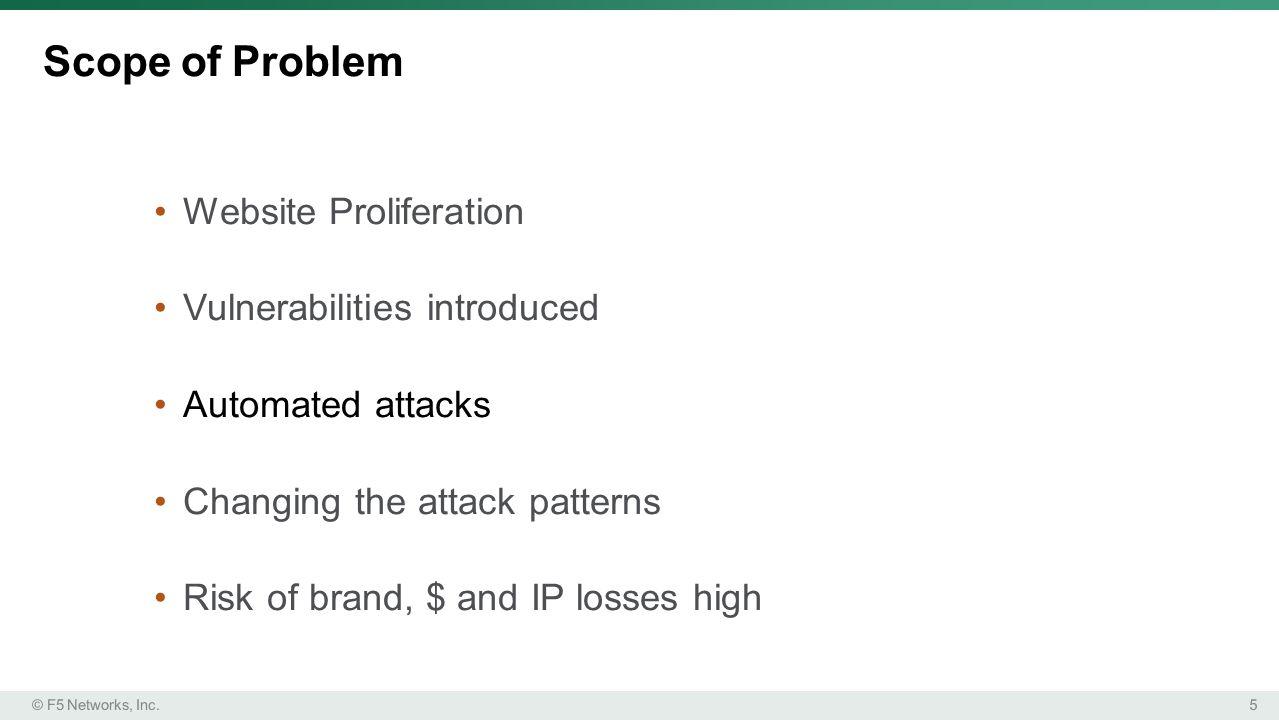 Scope of Problem Website Proliferation Vulnerabilities introduced