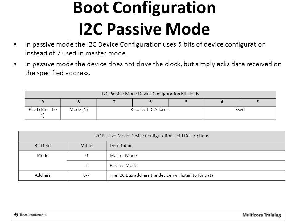 Boot Configuration I2C Passive Mode
