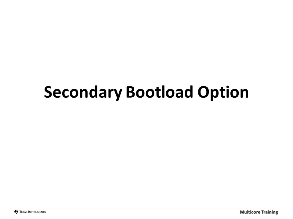 Secondary Bootload Option