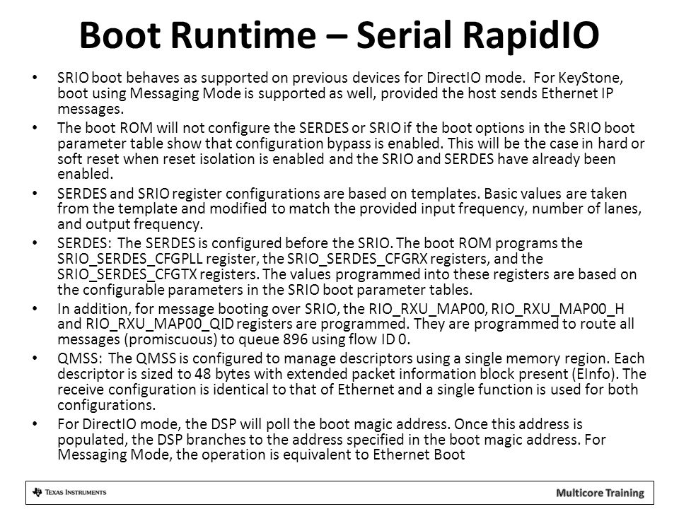 Boot Runtime – Serial RapidIO