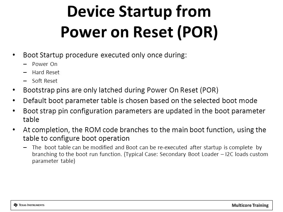 Device Startup from Power on Reset (POR)