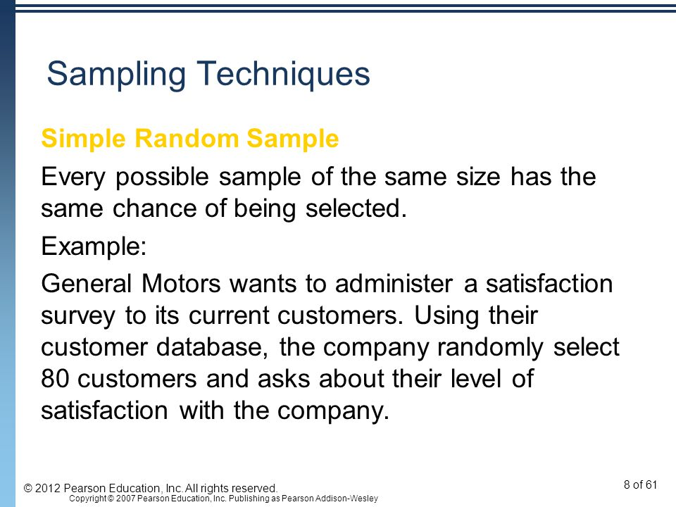 Sampling Techniques Simple Random Sample