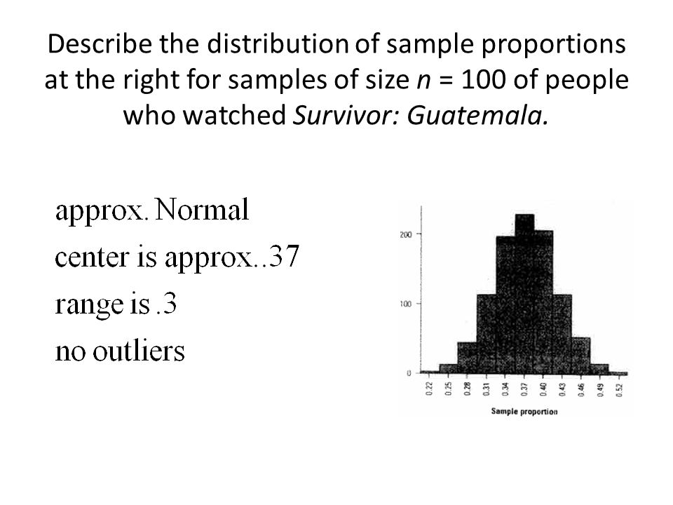 Describe the distribution of sample proportions at the right for samples of size n = 100 of people who watched Survivor: Guatemala.