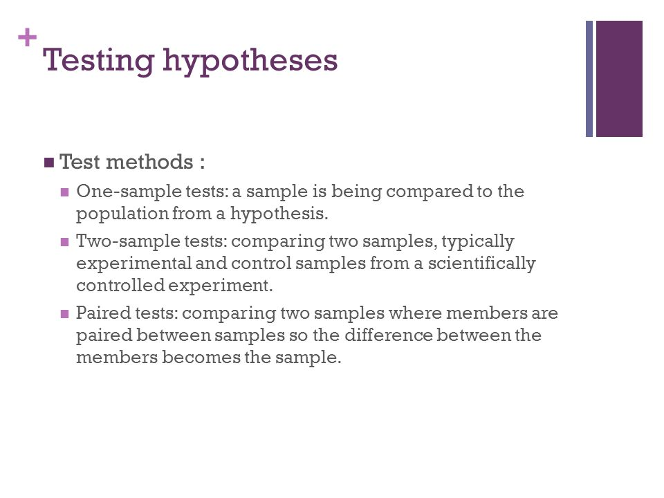 Testing hypotheses Test methods :