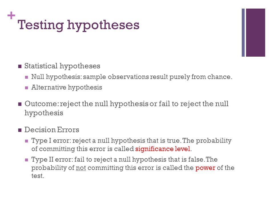 Testing hypotheses Statistical hypotheses