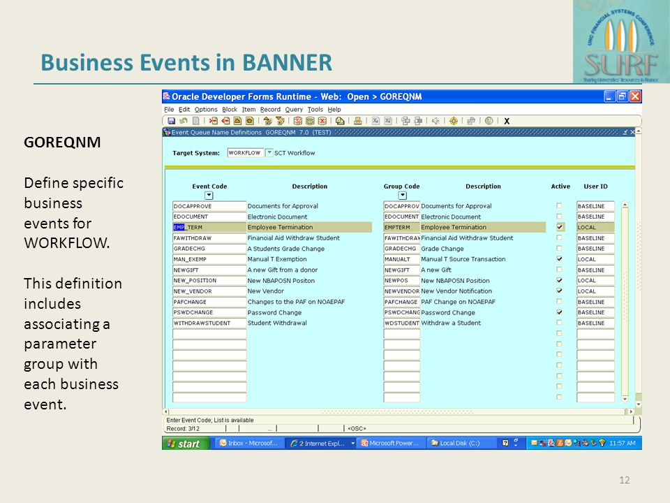 Business Events in BANNER