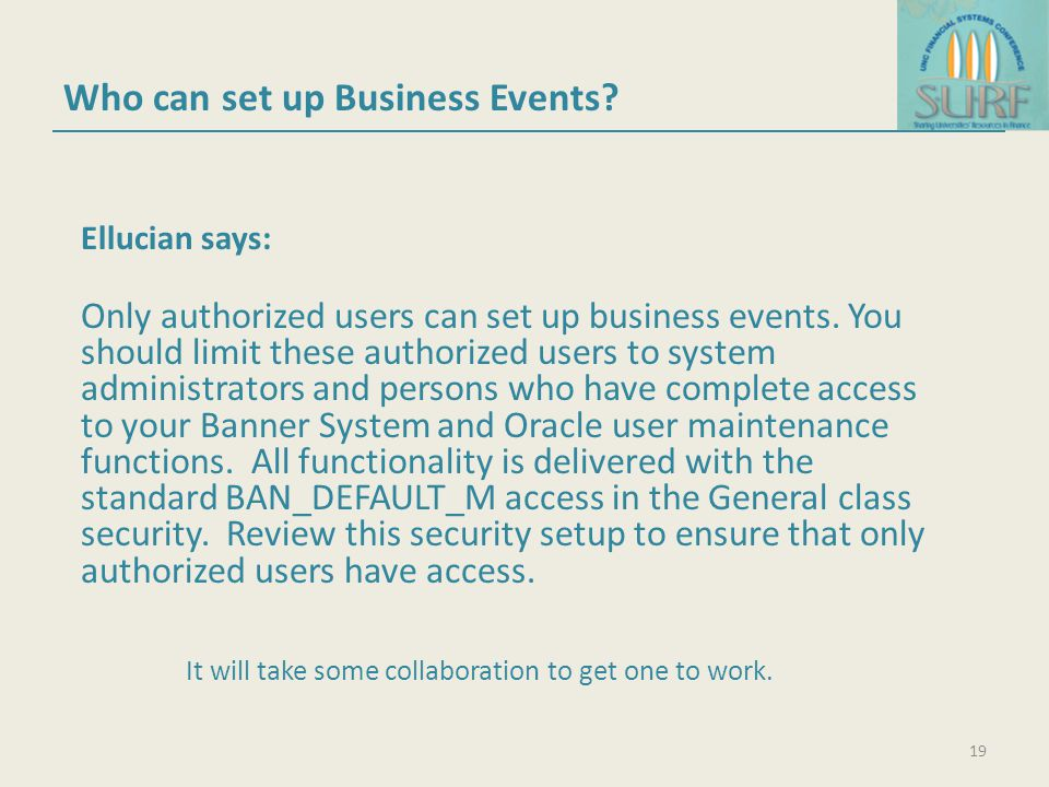 Who can set up Business Events